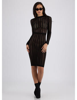 Net Result Semi Sheer Knit Midi Dress by Go Jane