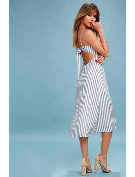 Sun And Sea Blue And White Striped Backless Midi Dress by Lush