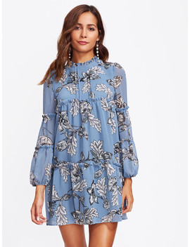Frill Detail Bishop Sleeve Tiered Botanical Dress by Shein