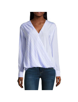A.N.A Long Sleeve Y Neck Woven Stripe Blouse by A.N.A