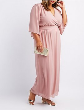 Plus Size Kimono Sleeve Surplice Maxi Dress by Charlotte Russe