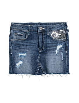 Denim Skirt With Sequins by H&M