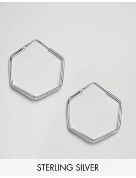 Kingsley Ryan Sterling Silver Hexagon Hoop Earrings by Kingsley Ryan