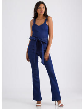 Denim Sweetheart Belted Jumpsuit by Go Jane