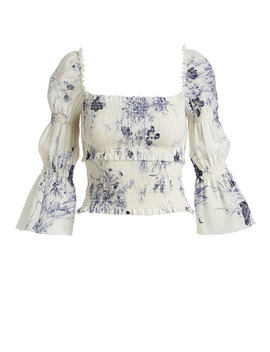 Adelaide Inky Floral Smocked Silk Top by Cinq A Sept