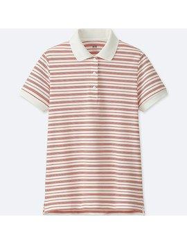 Women Stretch Pique Striped Polo Shirt by Uniqlo