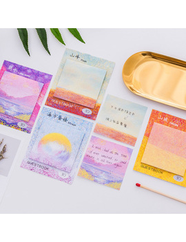 4 Pcs Oil Painting Sticky Note Color Canavas Memo Pad Guestbook Mirage Peak Lake Post It Stationery Office School Supplies A6962 by Ali Express