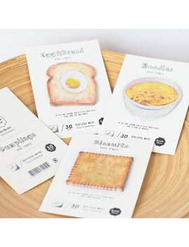 4 Pcs/Lot Food Series Self Stick Notes 30 Sheet Memo Pad Noodles Dumplings Biscuits Office Accessories School Supplies 6461 by Ali Express