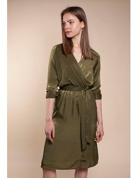 Olive Green  Silky Midi Wrap Dress by Style By S+S