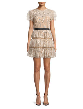 Star Mesh Corset Tiered Cocktail Dress by Neiman Marcus