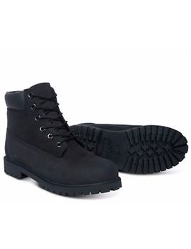 Timberland 6 Inch Premium Boots 12907 Black Nubuck Junior 4 Y 7 Y by Timberland