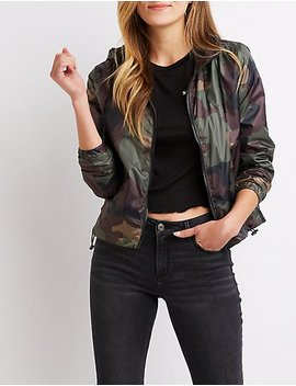 Camo Hooded Bomber Jacket by Charlotte Russe
