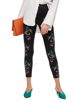 Jamie Embroidered Ankle Skinny Jeans by Topshop