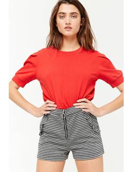 Gingham Zip Front Ruffle Trim Shorts by Forever 21