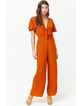 Crepe Tie Front Jumpsuit by Forever 21