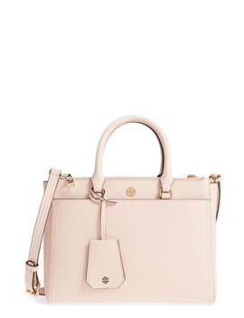 Small Robinson Double Zip Leather Tote by Tory Burch