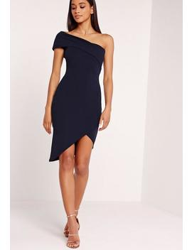 Asymmetric Bodycon Dress Navy by Missguided