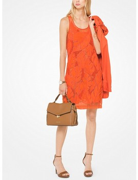 Palm Leaf Appliqué Georgette Dress by Michael Michael Kors