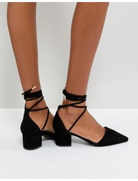 Raid Lucky Black Ankle Tie Mid Heeled Shoes by Raid