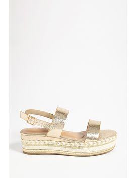Faux Leather Crochet & Metallic Slingback Sandals by Forever 21