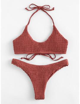 Shirred Halter Bikini Set by Sheinside