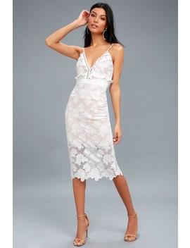 Vienna White Lace Midi Dress by Bardot