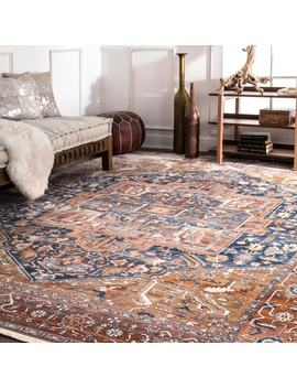 Nu Loom Traditional Fancy Medallion Border Rust Rug (4' X 6') by Nuloom