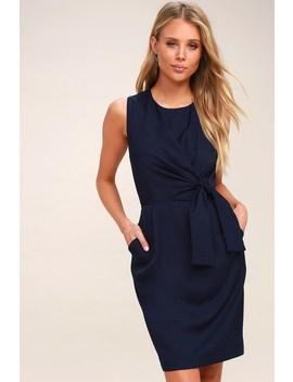 Zealous Love Navy Blue Tie Front Midi Dress by Lulus
