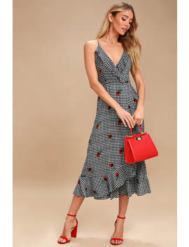 Kentucky Derby Black And White Gingham Midi Dress by Lucy Love
