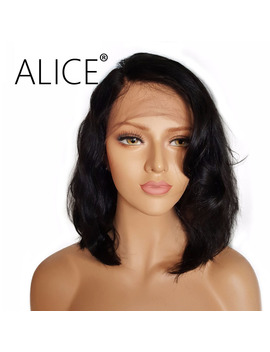 Alice Short Full Lace Human Hair Wigs With Baby Hair For All Women Brazilian Virgin Hair Wavy Lace Wigs For All Women by Alice Official Store