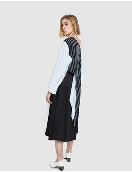 Cotton Stripe Dress In Black by Need Supply Co.