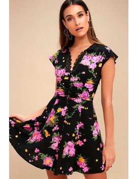 Alora Black Floral Print Mini Dress by Free People