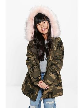 Girls Camo Faux Fur Hooded Parka by Boohoo