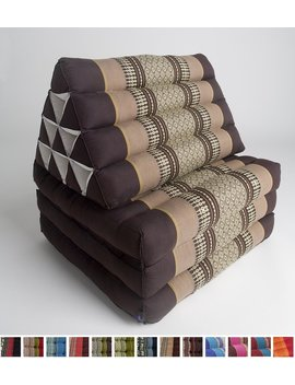 Leewadee Foldout Triangle Thai Cushion, 67x21x3 Inches, Kapok Fabric, Brown, Premium Double Stitched by Leewadee