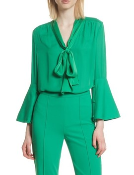 Meredith Tie Neck Silk Blouse by Alice + Olivia