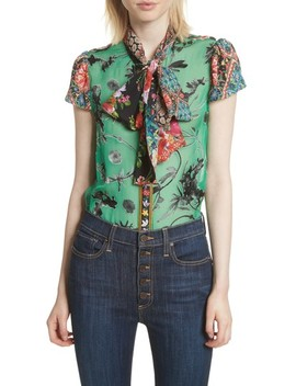 Bow Neck Mixed Print Blouse by Alice + Olivia