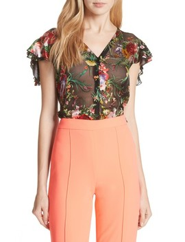 Eriko Floral Burnout Blouse by Alice + Olivia