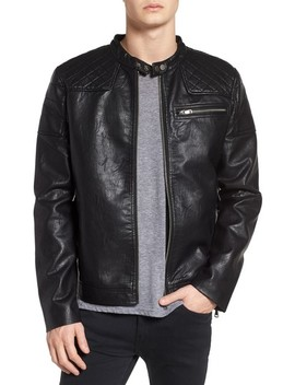 Washed Faux Leather Racer Jacket by Topman
