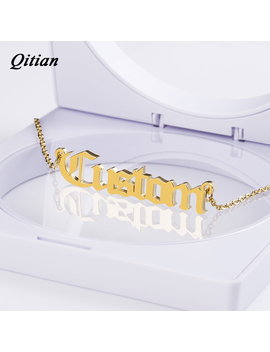 Old English Nameplate Necklace   Gold Color Choker Stainless Steel Personalized Name Necklaces & Pendants Romantic Gift by Qitian Official Store