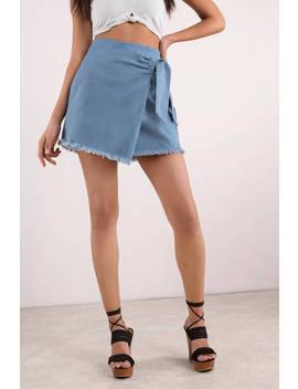 Best Of Me Light Wash Chambray Skirt by Tobi