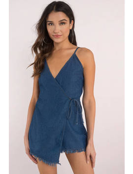 Izza Medium Wash Denim Surplice Romper by Tobi