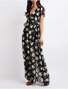 Floral Maxi Wrap Dress by Charlotte Russe