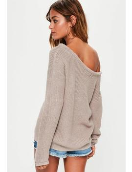 Mink Grey Off Shoulder Knitted Jumper by Missguided