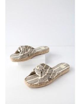 Benicia Natural And Black Espadrille Slide Sandals by Dolce Vita