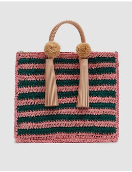 Straw Travel Tote In Rainbow Raffia by Need Supply Co.