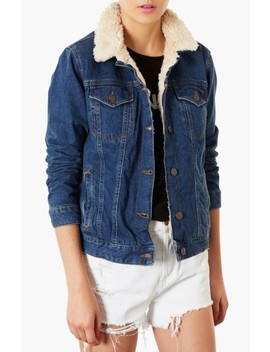 Moto Fleece Lined Denim Jacket by Topshop