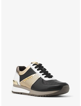 Allie Metallic Perforated Leather Sneaker by Michael Michael Kors