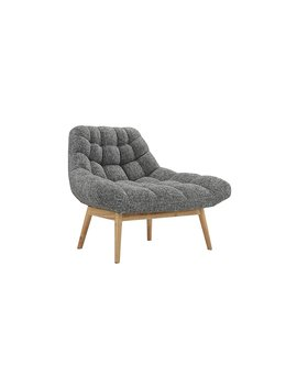 Modern Linen Plush Living Room Lounge Accent Chair (Light Grey) by Divano Roma Furniture