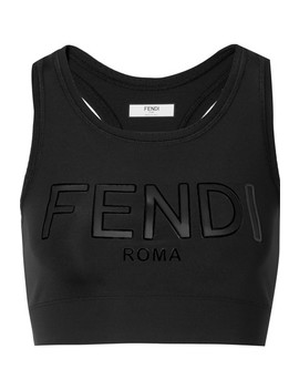 Roma Cutout Appliquéd Stretch Sports Bra by Fendi