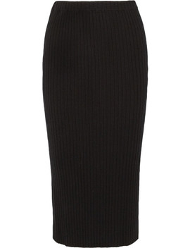 Cashmere Ribbed Knit Midi Skirt by Allude